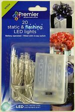 Premier 20 Static & Flashing WHITE LED String Christmas Lights Battery Operated