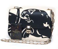 NWT VALENTINO GARAVANI Black Ivory Panther Leather Shoulder Bag Chain Strap