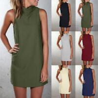 Womens High Neck Blouse Tops Sleeveless WorkEvening Party Cocktail Mini Dress