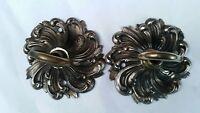2 LARGER CEILING ROSE chandelier hook FRENCH cast brass bronze ANTIQUE old 80mm