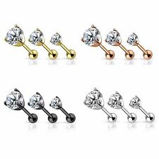 New Steel Rose Gold Plated Black CZ Gem Tragus Cartilage Bar Earring Stud
