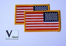 US USA American Flag Patch REVERSE GOLD Border **LOT of 2**