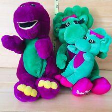 "3 Vintage 10"" Barney,  10"" Baby Bop & 6"" Rattle Gund Baby Boop Plush 1990s Lot"