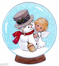 "5.5"" PRECIOUS MOMENTS ANGEL SNOW CHRISTMAS HOLIDAY WINDOW CLING DECAL CUT OUT"