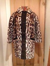 ORIGINAL 50's 60's VINTAGE REAL SHEEPSKIN COAT Leopard Skin PRINT Suede details