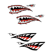 +2 Stück Haifischzähne Mund Abziehbild Aufkleber Für Kajak-Kanu-Schlauchboot