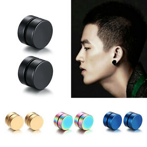 Magnetic Round Stud Earrings For Men Boy Magnet Ear Jewelry Anti Allergy EH42