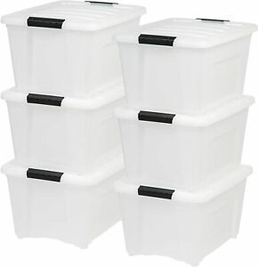 Storage Bin Stack And Pull Box, Multi-Purpose 6 Pack, Pearl IRIS USA TB-28 32