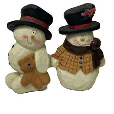 """Crazy Mountain 5.5"""" Snowman Set of 2 Rustic Carved Christmas Decor Bear Scarf"""
