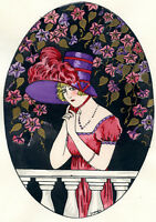 1930s French Pochoir Print Young Victorian Woman Fashion Feather Jacquelyn (S)