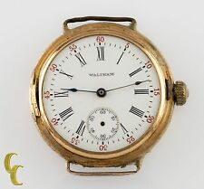 Waltham Antique 14k Yellow Gold Open Face Pocket/Wrist Watch Size 0S 15 Jewels