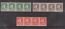 Canada #180iii #181iii #182iii NH Mint Cockeyed King Line Strip Of Four