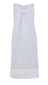 EX M&S BLUE PURE COTTON EMBROIDERED NIGHTDRESS NEW