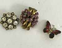 3 x Brooches Vintage Floral 1950s & Modern Butterfly Fashion Jewellery