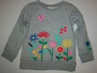 New Carter's Girls Floral Butterfly Gray Sweatshirt Top NWT 3T 4T 5T Pullover