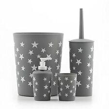 4pc Bathroom Accessory Set - Bin Soap Dispenser Toilet Brush - Star Design Grey