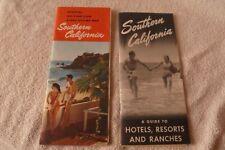 Vintage 1950's California Travel Sightseeing Map + Hotel Resort Ranch Brochure