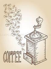 Illustrazione del Caffè Molatrice kitched SHOP FAGIOLI FOTO ART PRINT POSTER bmp2212a