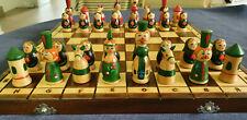 Klappbares Handgeschnitztes Russisches Schachspiel Holz fürKinder und Erwachsene