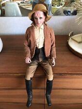 Vtg Antique Folk Art Sitting Man Suspenders Hair Boots Large Doll Paper Mache