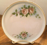 VTG HAND PAINTED ROUND NORITAKE NIPPON DRESSER TRAY ROSES, FLORAL, GOLD TRIM