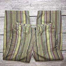 Royal Robbins Cropped Pants Size 6 Womens Multi Color Striped 100% Cotton Capris