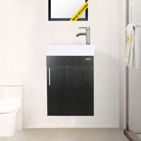 """19"""" Wall Mount Small Bathroom Vanity W/ White Ceramic Sink Faucet Drain Combo"""