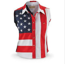 Scully Women's Americana Stars and Stripes Sleeveless Shirt Medium Button Front