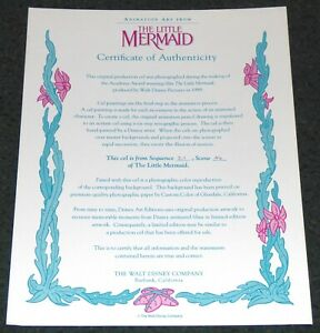 DISNEY THE LITTLE MERMAID 1989 ORIG PRODUCTION CEL CERTIFICATE OF AUTHENTICITY