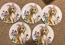 Prima Design Melamine Salad Plates Dogs, Golden doodle Bunny . Set Of 5, New.