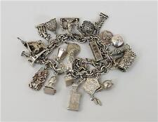 Vintage Silver European Student Study Abroad Charm Bracelet #S92