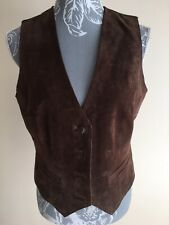 WS Leather Womens Waistcoat Size 12 Brown Suede Leather Buttons Pocket Imita