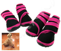 4PCS Pet Dog Waterproof Shoes Protective Rain Boots Anti Slip Pink Large
