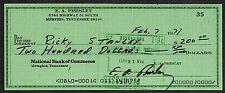 Elvis Presley Autograph & Check Reprint On Fine Linen Paper