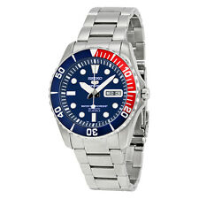 NEW MEN'S SEIKO 5 SPORTS PEPSI BEZEL SUBMARINER AUTOMATIC WATCH SNZF15K1