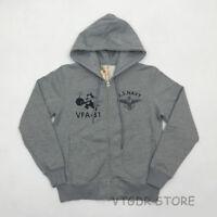 Bob Dong Felix the Cat Hoodies US Navy Military Style Zipper Sweatshirt For Men