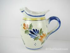 """HENRIOT QUIMPER FRANCE 5"""" Faience Bretone Woman Pitcher - Signed Blue Yellow"""