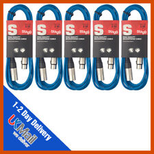 Stagg 5 x 3M Blue XLR Microphone Lead & Audio Signal Cable  Pack