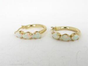 Estate 10K Yellow Gold Opal Hoop Small Ladies Earrings 1.0g