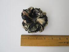 Silk Scrunchies Ponytail Holder Elastic Ties Hair Band Black Floral on Beige 079