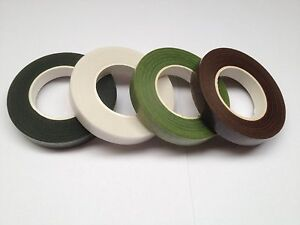2 X FLORIST STEM TAPE, WIRE FLORAL WORK, BUTTON HOLES, GREEN, WHITE & BROWN.