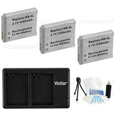 3X NB-6LH Replacement Battery & USB Dual Charger for Canon D10 D20 S90 S95 SD770