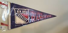 NEW YORK RANGERS EARLY 70'S VINTAGE NHL FELT PENNANT WITH HOLDER