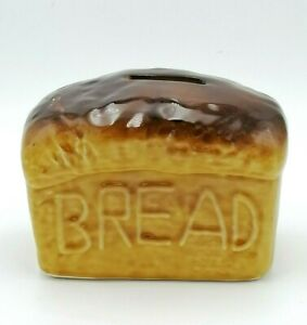 Vintage Ceramic Bread Money Box by R Moss Save Some Bread With Stopper
