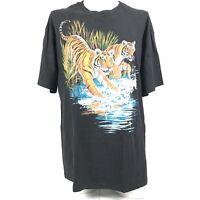 Hanes Mens T Shirt harlequin Nature Graphic Tigers River Splash 90s Vintage XL