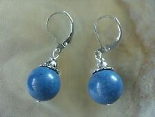 12 mm blaue Koralle Ohrringe Ohrhänger Earrings mit Brisuren rhodiniert