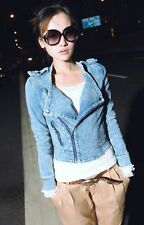 X FASHION Women's Blue Wash Water Cowboy Locomotive Zipper Coat M