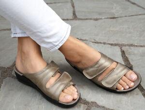Rohde SOLTAU Damen Sandalen Pantoletten Messing taupe Leder Hausschuhe 1940