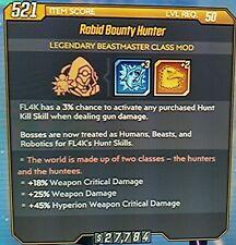 "Borderlands 3 BEASTMASTER Class Mod ""RABID BOUNTY HUNTER"" level 50 XBOX ONE"