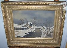 19c ANTIQUE VICTORIAN FOLK ART OIL ON BOARD WINTER CABIN HOUSE RIVER PAINTING